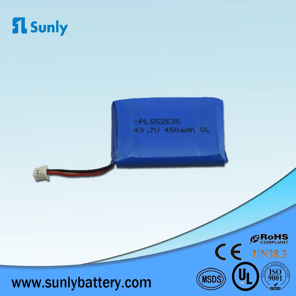 PL552535 lipo battery 3.7V 450mAh li ion batery pack