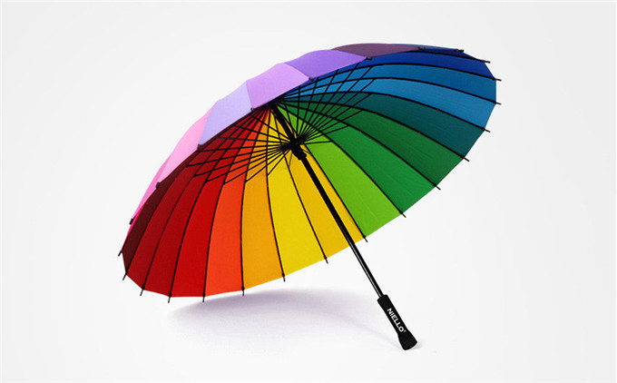 Niello Manual Creative 24K Straight Rainbow Umbrella,Promotional umbrella