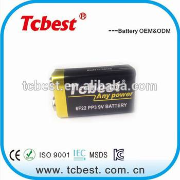 carbon zinc battery 9v 6f22 Nominal Capacity