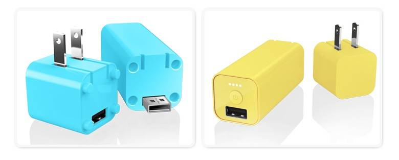 2 in 1 power bank with folding AC usb wall charger