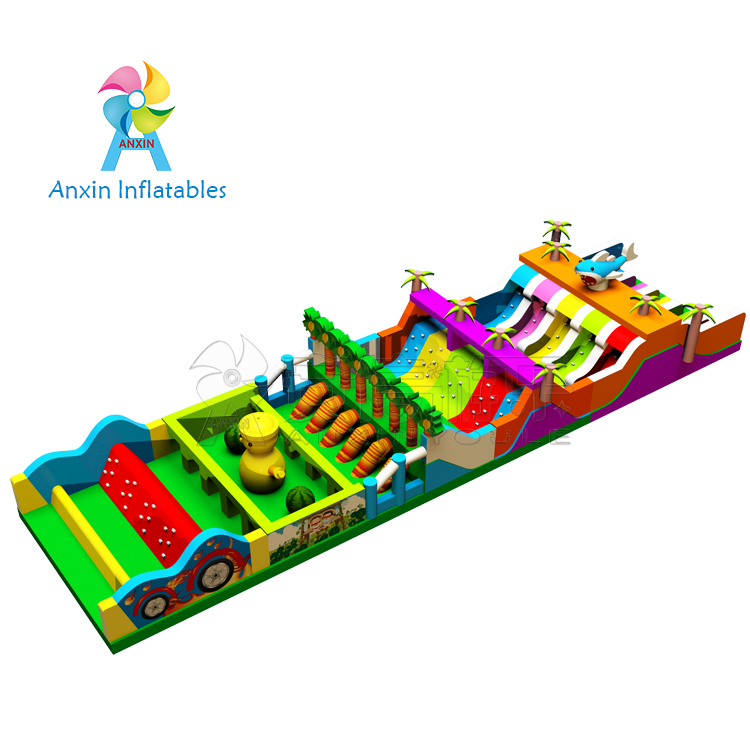 2018 New design 75' long giant indoor radical Run Inflatable Obstacle Course