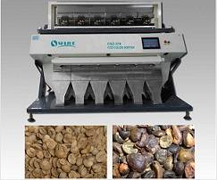 6 chutes coffee bean color sorter with high definition