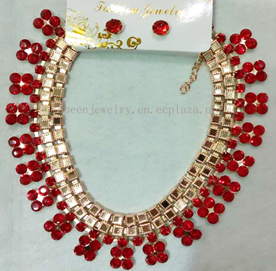 Factory Directly Bridal jewelry Set Clear red Rhinestone Fashion necklace earring Wedding Jewelry