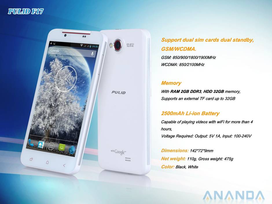 5 inch MTK6589T,Quad Core Android 4.2 WCDMA/ GSM 3G Dual SIM Mobile Phone F17