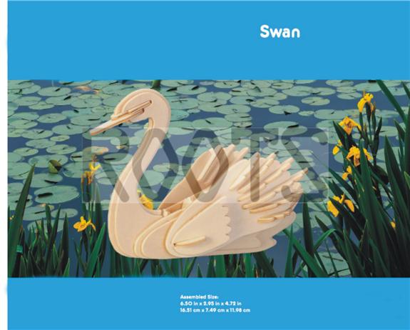 Swan-3D wooden puzzles, wooden construction kit,3d wooden models, 3d puzzle