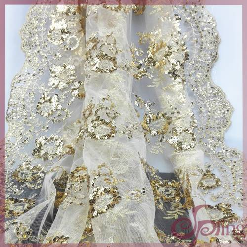 Gloden sequins embroidered lace fabric, elegant bridal mesh fabric