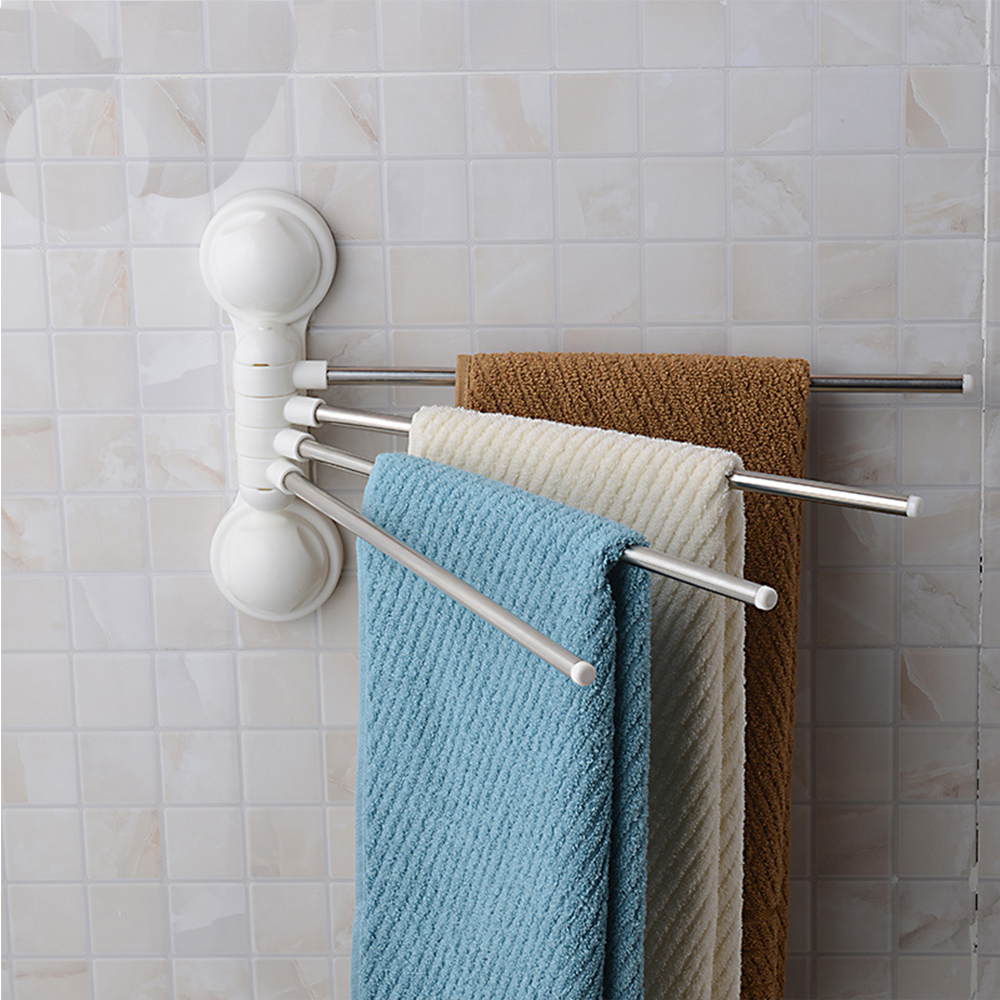 Wall Mounted Suction Cup Rotatable Bathroom Towel Rack Rails With 4 Bar