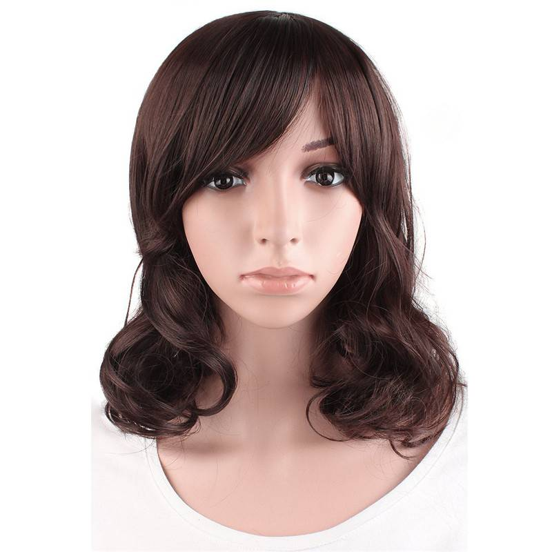 Middle length Curly Brown Wig