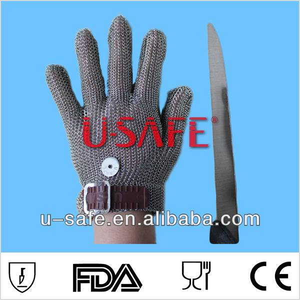 Stainless steel chainmail metal mesh butcher safety glove