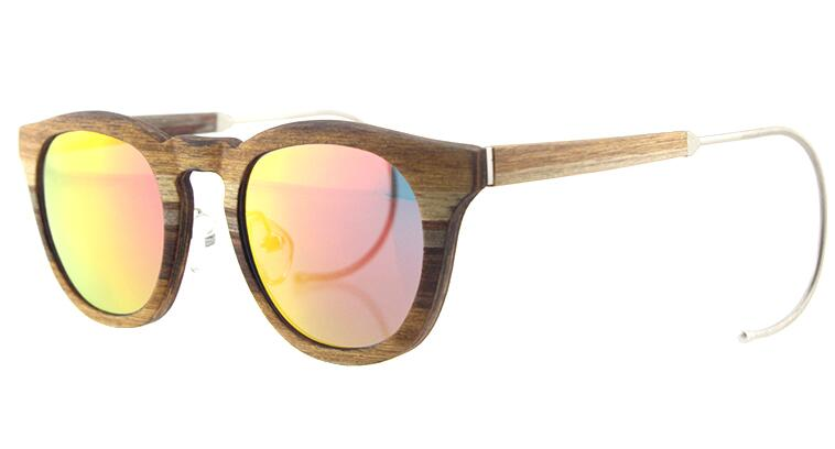 wooden sunglasses frames mixed metal material Round unisex style