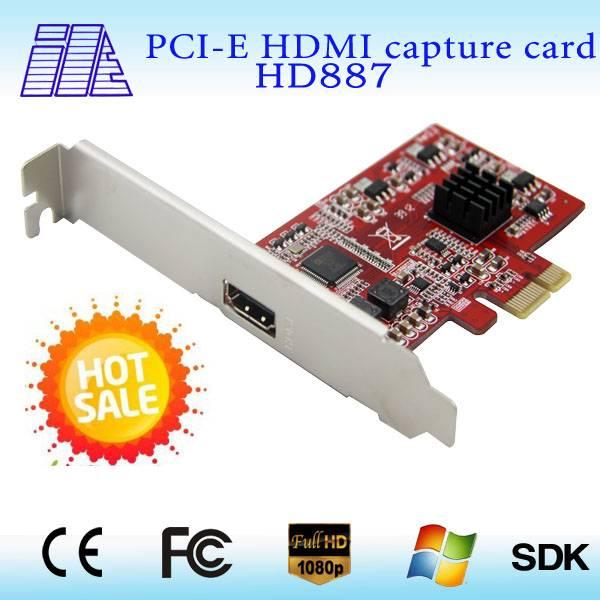 2015 Mine HD887 professional 1ch PCI-E CCTV HDMI video capture card support 1080P 30fps hdmi video c