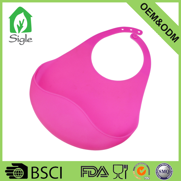New design waterproof silicone baby bibs with pocket