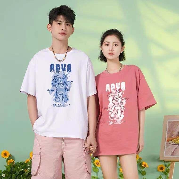 Hong Kong wind INS super hot couple short sleeve T-shirt women summer season