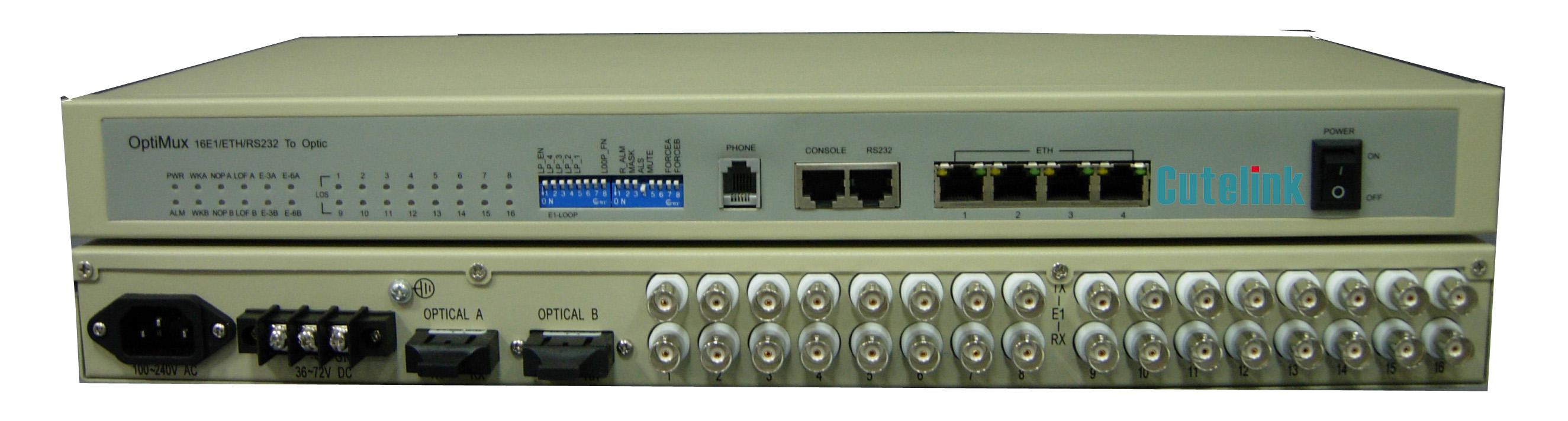4/8/16/32E1+5GE+Rs232+OW VLAN SNMP PDH Optimux