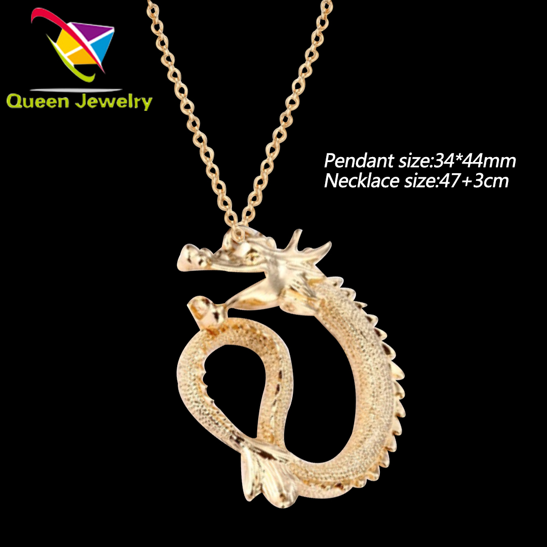 Men Jewelry gold color long chain necklace designs fashion best selling gold dragon pendant jewelry