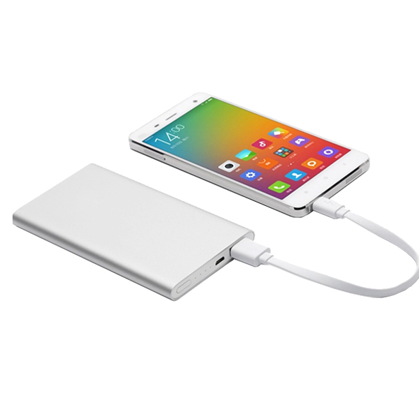 Super slim xiaomi power bank 5000mah mi power bank portable battery charger