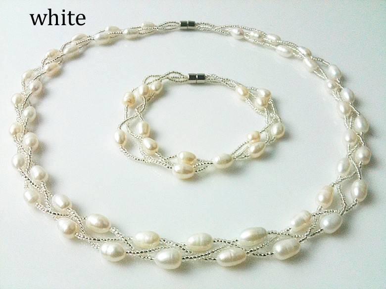 zustec pearl set wholesale:necklace+ bracelet,AAA+
