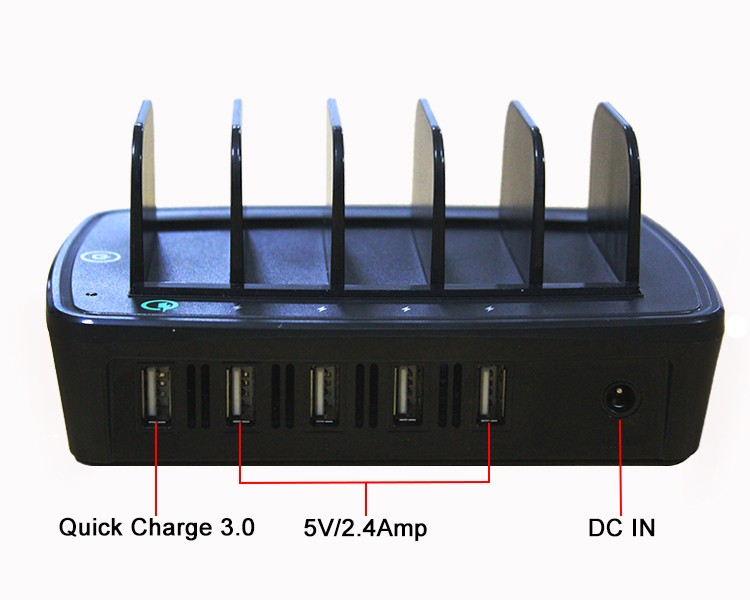 QC2.0 5 port USB charging station multifunctional docking usb+charger