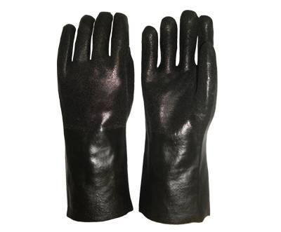 35cm black sandy finished PVC working safety gloves