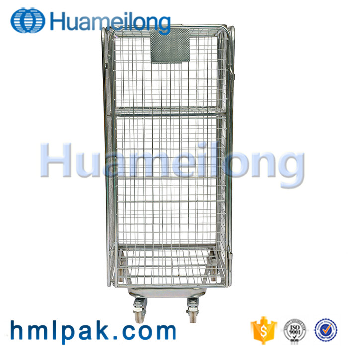 Warehouse collapsible logistic detachable wholesale industrial steel transport roll cage