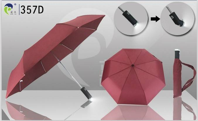 Automatic Open Folding Umbrella with LED,Best for Promotional Event and Company Gift,Made in China