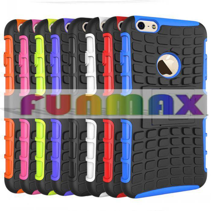 Tire Pattern Silicone + PC Hybrid Protective Phone Case with Stand Function for Apple iPhone 6 Plus
