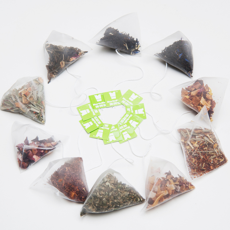 Private labeling various flavor tea in a pyramid bag