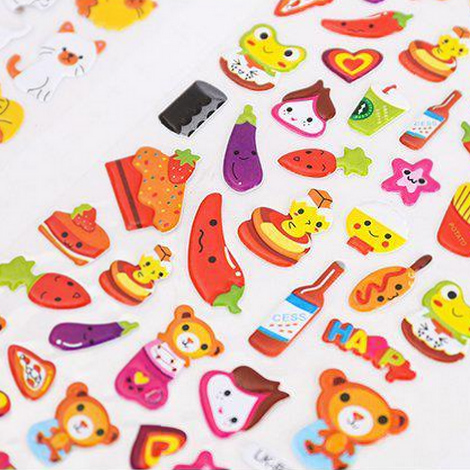 Colorful Food Animal Epoxy Stickers