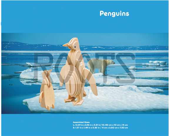 Penguin-3D wooden puzzles, wooden construction kit,3d wooden models, 3d puzzle