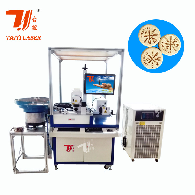 Hot Sale In Europe Brandy Bottle Wood Caps Laser Marking Machine