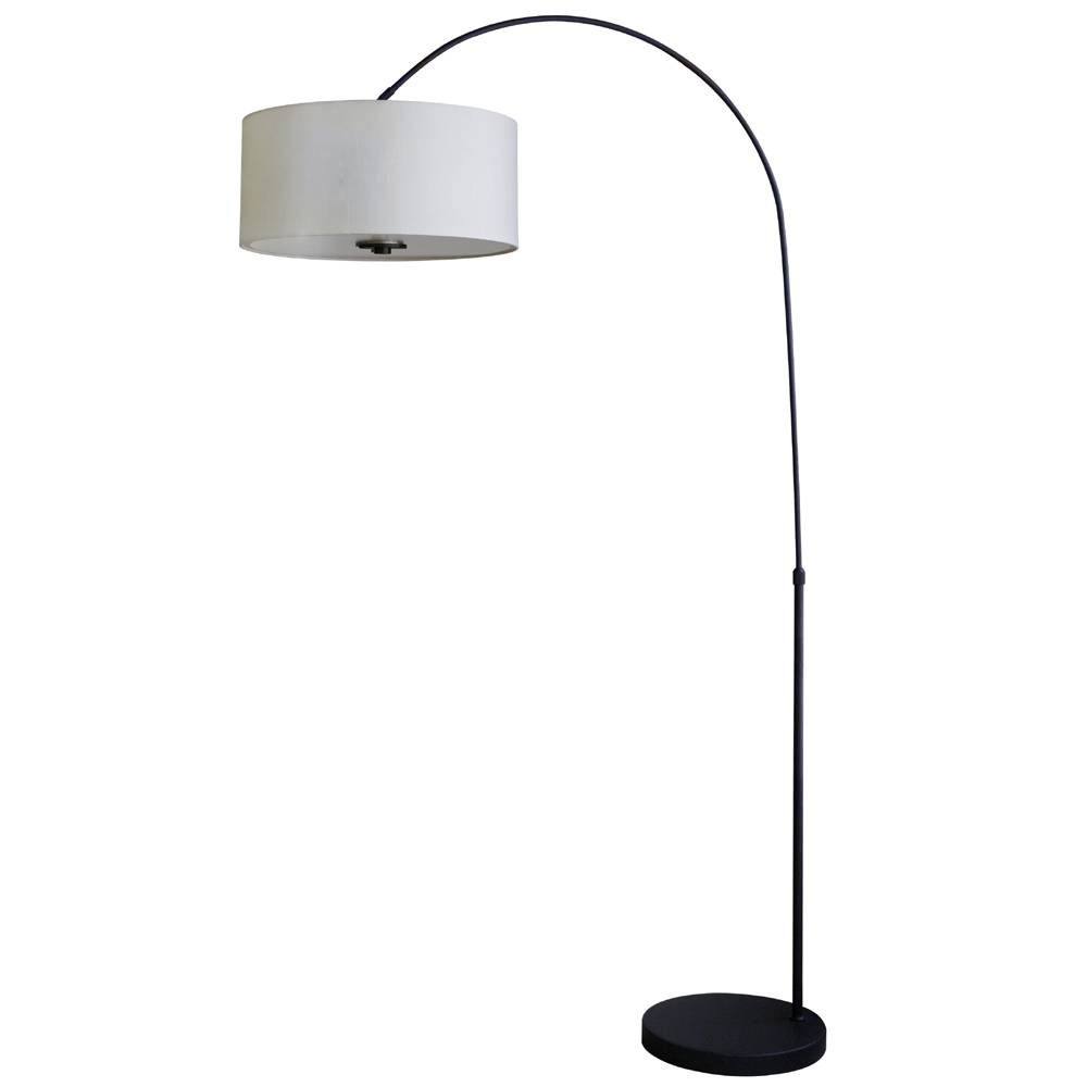 "Floor lamp in ebony bronze finish with 16"" belvedere cream fabric lamp shade"