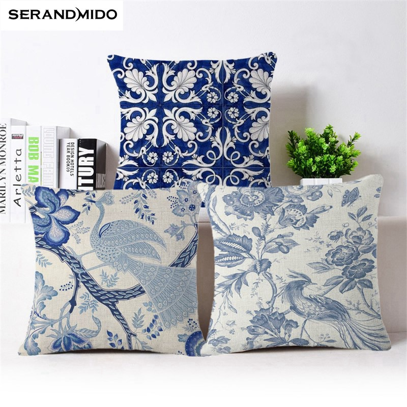 Chinese Style Cushion Cover Blue and white Porcelain Printed Pillowcases Home Decorative Pillows
