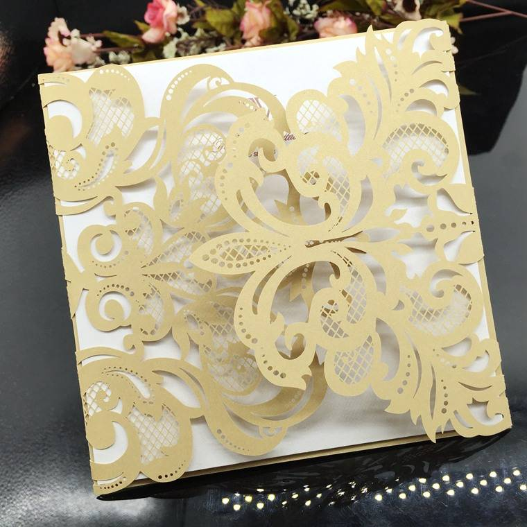 Gold Wedding Card Laser Cut Wedding Invitations Wholesale