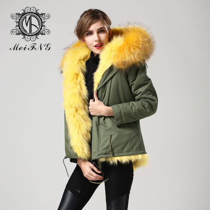 2016 new design fashion women long and style fur coat with real fox fur removeable lining