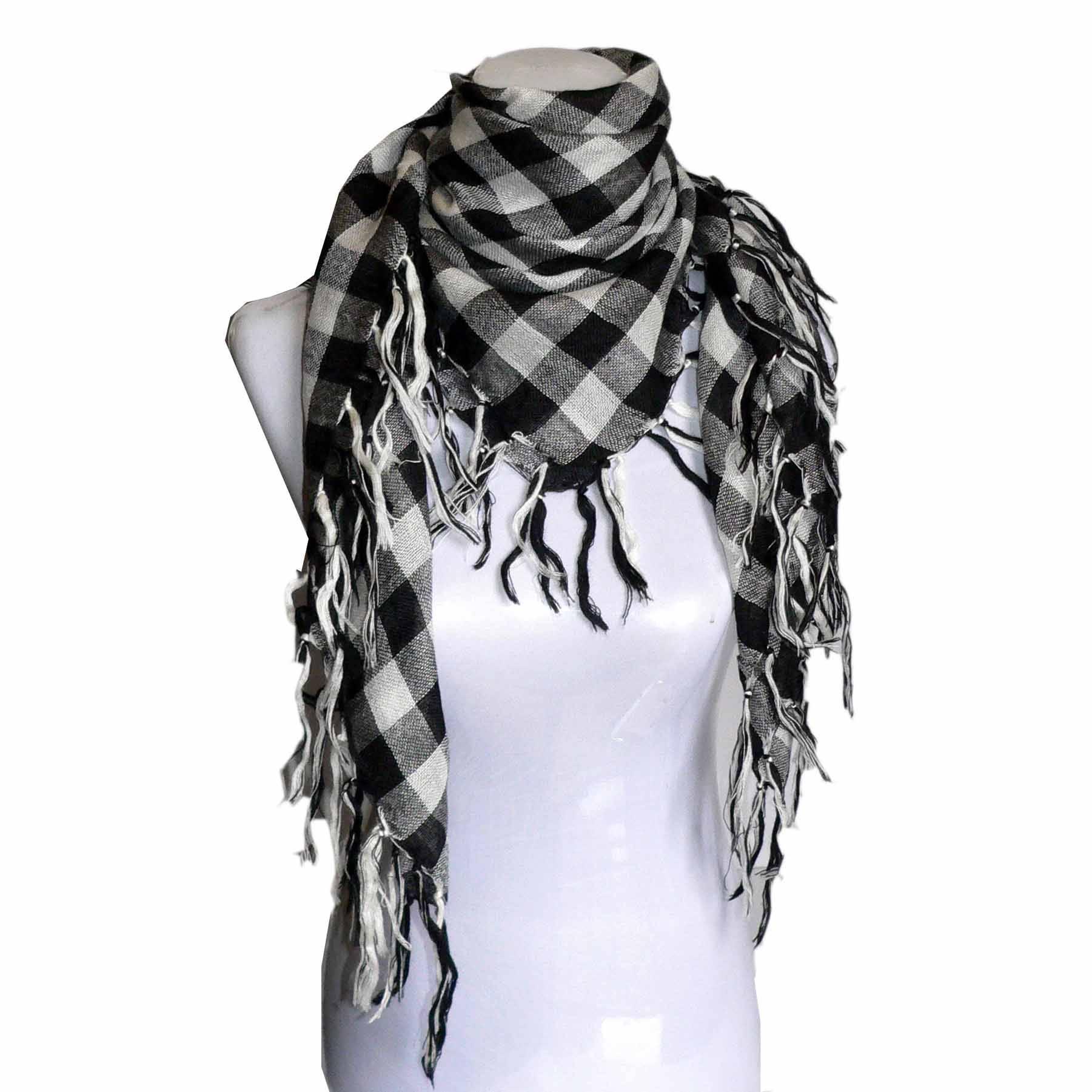 Jacquard grid square scarf