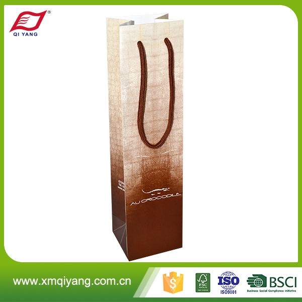 High quality one bottle wine gift packaging paper bag with handle
