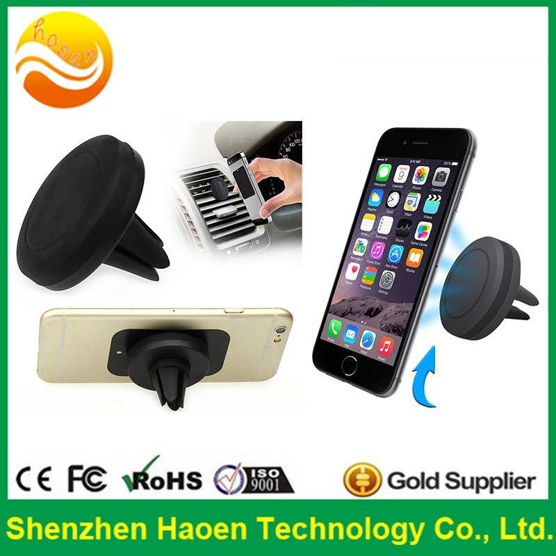 2015 hot selling round magnetic smartphone air vent mount holder for car