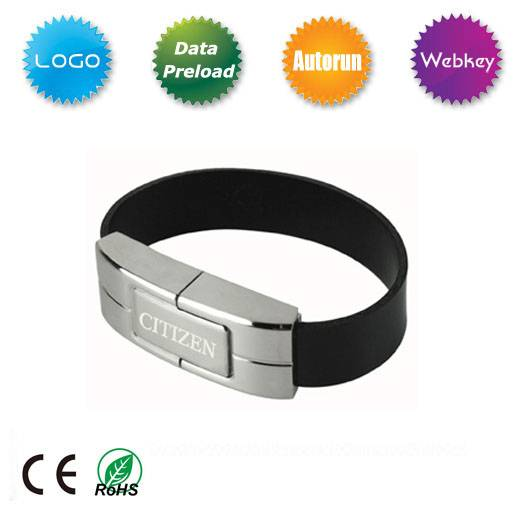 Leather Bracelet USB Flash Drive for Promotional Gift