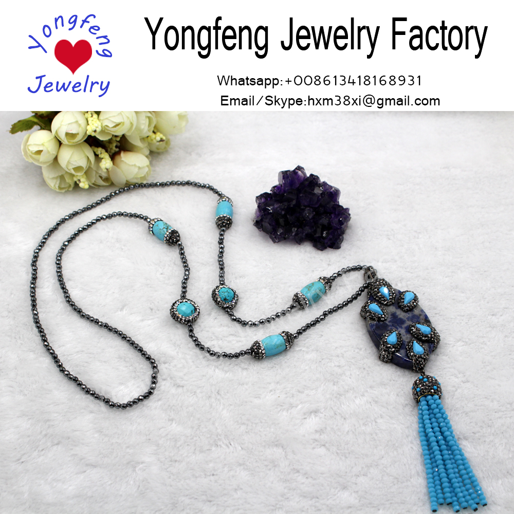 wholesale hematite beads turquoise necklace with blue-veins stone pendant tassel necklace