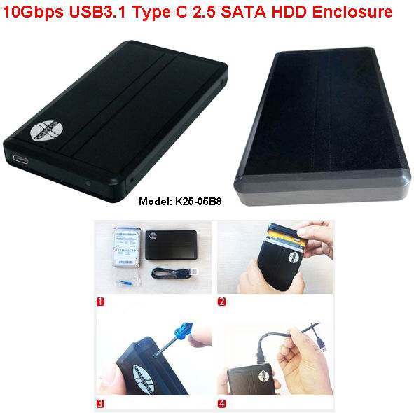 USB 3.1 Type C 2.5'' sata SSD hdd enclosure with JMS580