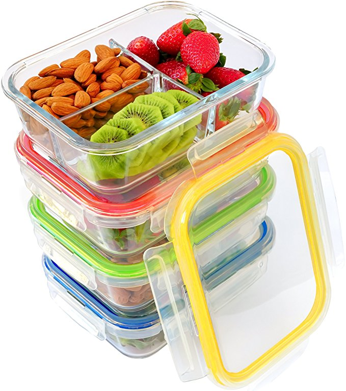 3 compartment high borosilicate glass food container