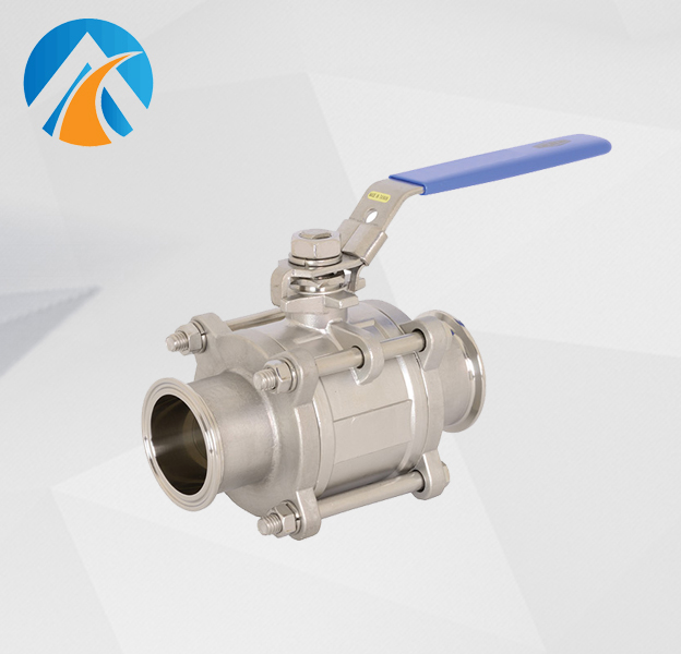 Sanitary stainless steel three piece ball valve