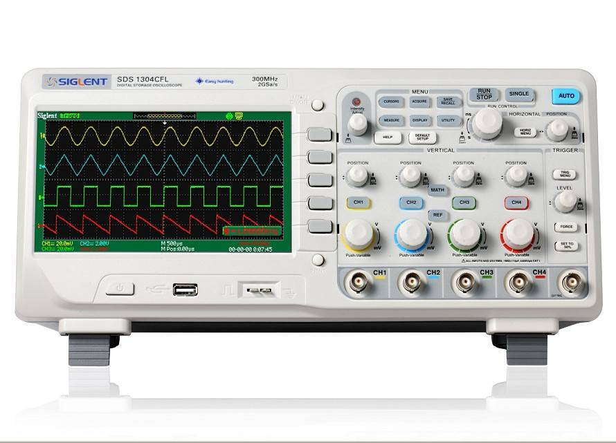 4 Channel 7 inch wide screen Digital  Oscilloscope 70/100/200/300MHZ SDS1000CFL Series