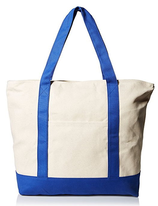 "22"" Heavy Duty Cotton Canvas Tote Bag (Zippered)"