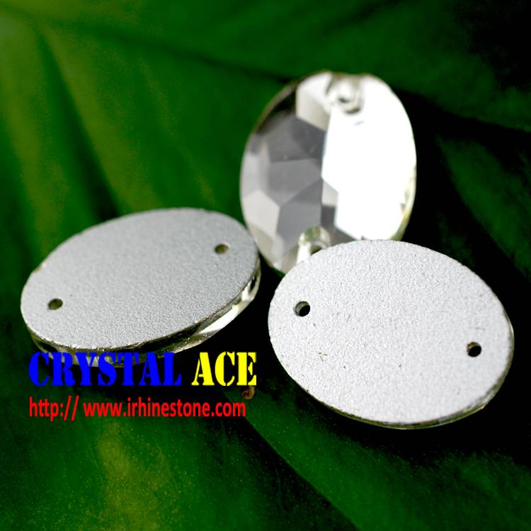 China wholesale Oval Sew on flat back glass stones , Flatback asewing stones with two holes for whol