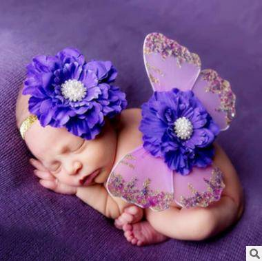 2016 Cute Infant Cartoon Baby Clothing Romper Props Headdress and Wings for Taking Photos