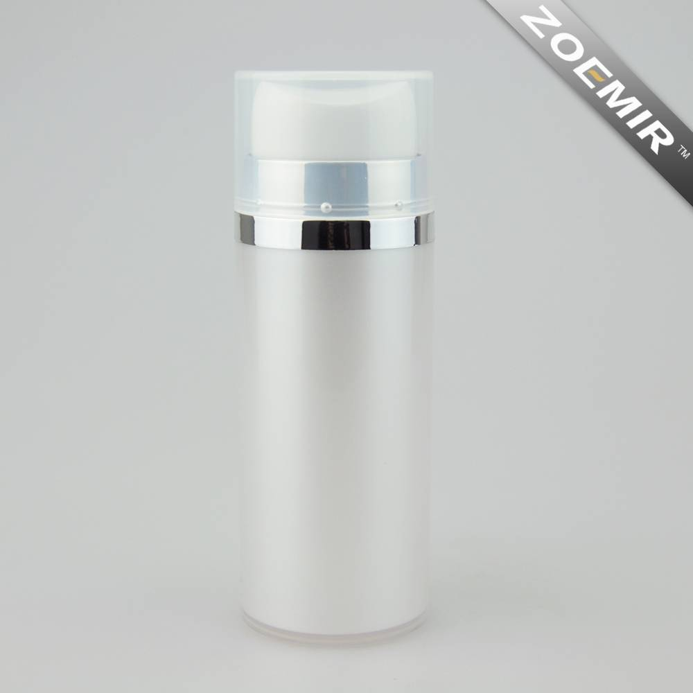 Empty shiny silver liquid airless skincare lotion cylinder container with pump