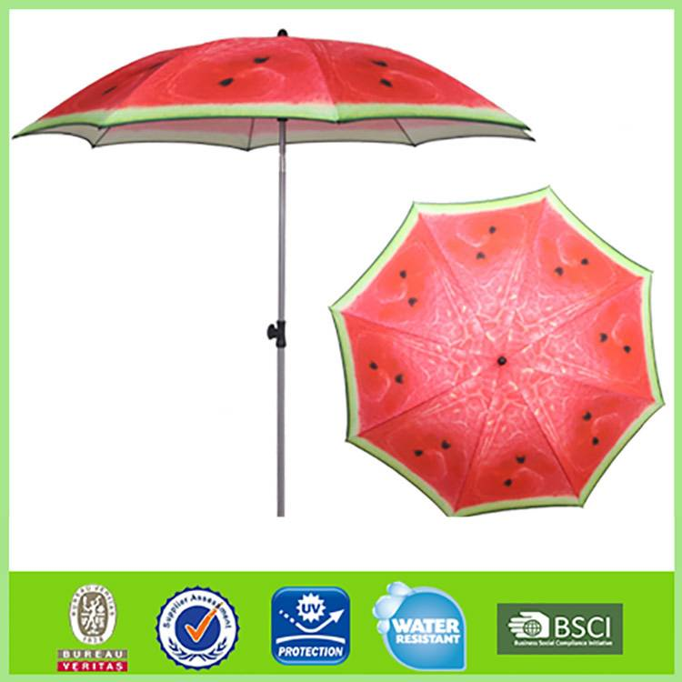 New Product Sun protection 8 steel ribs watermelon print umbrella