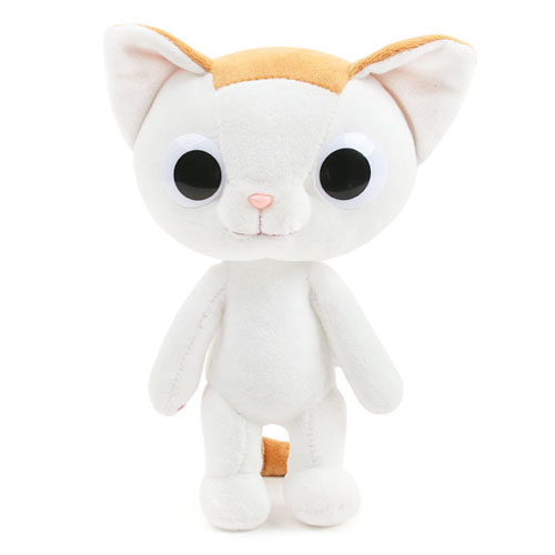 white cute cat plush toy