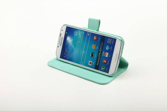 Imported twill pattern pu leather case with standing for Samsung I9500 S4